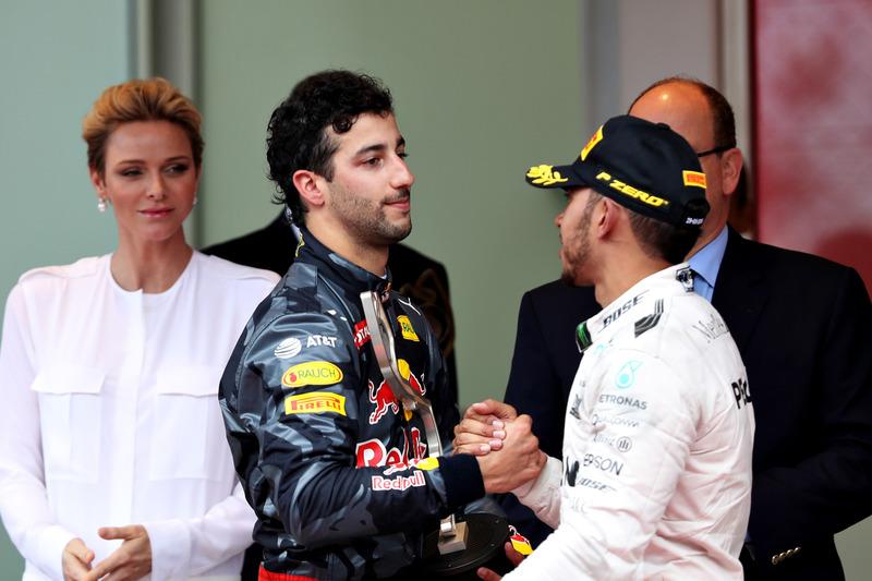 Daniel Ricciardo and Lewis Hamilton on the podium