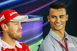 Sebastian Vettel, Ferrari with Pascal Wehrlein, Manor Racing in the FIA Press Conference
