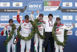 Podium: Race winner Tiago Monteiro, Honda Racing Team JAS, Honda Civic WTCC; second place Yvan Muller, Citroën World Touring Car Team, Citroën C-Elysée WTCC; third place Norbert Michelisz, Honda Racing Team JAS, Honda Civic WTCC with Mehdi Bennani, Sébastien Loeb Racing, Citroën C-Elysée WTCC