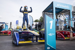 Sébastien Buemi, Renault e.Dams, race winner, celebrates in Parc ferme