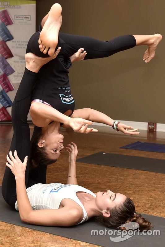Danica Patrick Stewart Haas Racing during a yoga event at Danica