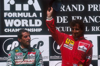 Formula 1 Photos - Podium: race winner Alain Prost, Ferrari, second place Ivan Capelli, Leyton House