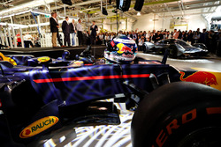 The helmet of Daniel Ricciardo of Australia and Red Bull Racing on the Red Bull Racing Red Bull-TAG Heuer RB12 TAG Heuer at the Aston Martin and Red Bull Racing Project AMRB 001 Unveil