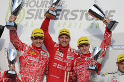 LMP1 winners Matheo Tuscher, Dominik Kraihamer, Alexandre Imperatori, Rebellion Racing celebrate