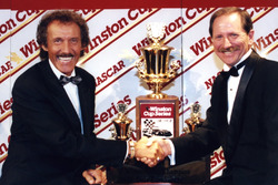 Richard Petty congratulates Dale Earnhard on his seventh championship