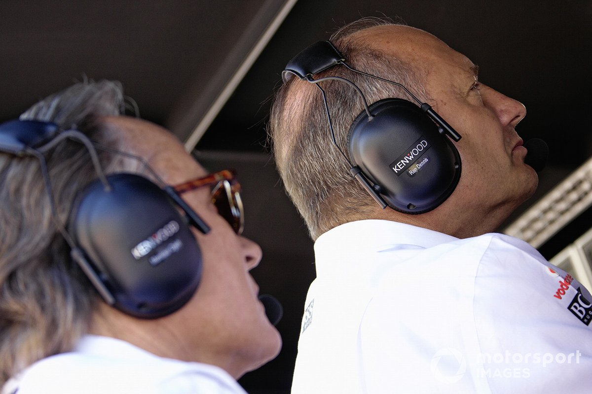 Ron Dennis and Mansour Ojjeh on the pitwall.