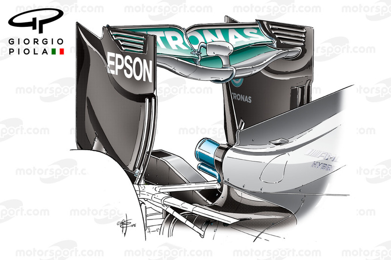 Mercedes W07 rear wing, no monkey seat, Baku GP