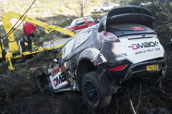The burnt remains of the car of Ott Tanak, Raigo Molder, DMACK World Rally Team