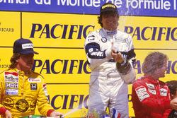 Podium: race winner Nelson Piquet, Brabham BMW, second place Keke Rosberg, Williams Honda, third place Alain Prost, McLaren TAG Porsche