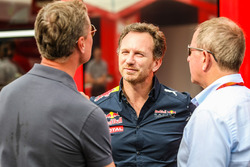 David Coulthard, Red Bull Racing and Scuderia Toro Advisor / Channel 4 F1 Commentator with Christian Horner, Red Bull Racing Team Principal and Martin Brundle, Sky Sports Commentator