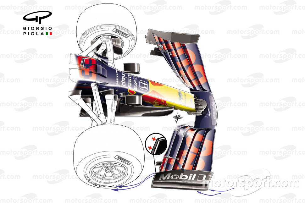 Red Bull Racing RB16 new front wing with holes detail