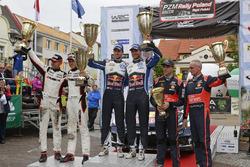 Ott Tanak, Raigo Molder, DMACK World Rally Team; Andreas Mikkelsen, Anders Jäger, Volkswagen Polo WRC, Volkswagen Motorsport; Hayden Paddon, John Kennard, Hyundai i20 WRC, Hyundai Motorsport