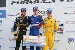 Podium: Race winner Egor Orudzhev, Arden Motorsport, second place Rene Binder, Lotus, third place Louis Deletraz, Fortec Motorsports