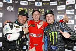 Podium: Race winner Kevin Eriksson, Olsbergs MSE; second place Petter Solberg, Petter Solberg World RX Team; third place Andreas Bakkerud, Hoonigan Racing Division