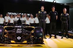 (L to R): Jolyon Palmer, Renault Sport F1 Team; Esteban Ocon, Renault Sport F1 Team test driver; and Kevin Magnussen, Renault Sport F1 Team