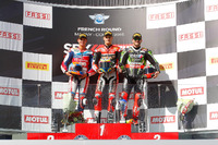 World Superbike Photos - Podium: race winner Chaz Davies, Ducati Team, second place Michael van der Mark, Honda World Superbike Team, third place Tom Sykes, Kawasaki Racing