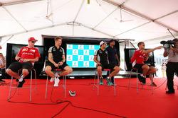 (L to R): Kimi Raikkonen, Ferrari with Nico Hulkenberg, Sahara Force India F1; Sergio Perez, Sahara Force India F1; and Sebastian Vettel, Ferrari
