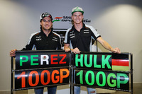 Formula 1 Photos - The Sahara Force India F1 Team celebrate 100 Grands Prix: Nico Hulkenberg, Sahara Force India F1 and Sergio Perez, Sahara Force India F1