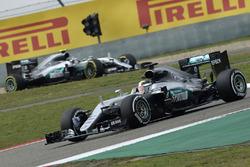 Lewis Hamilton, Mercedes AMG F1 Team W07 and Nico Rosberg, Mercedes AMG F1 Team W07