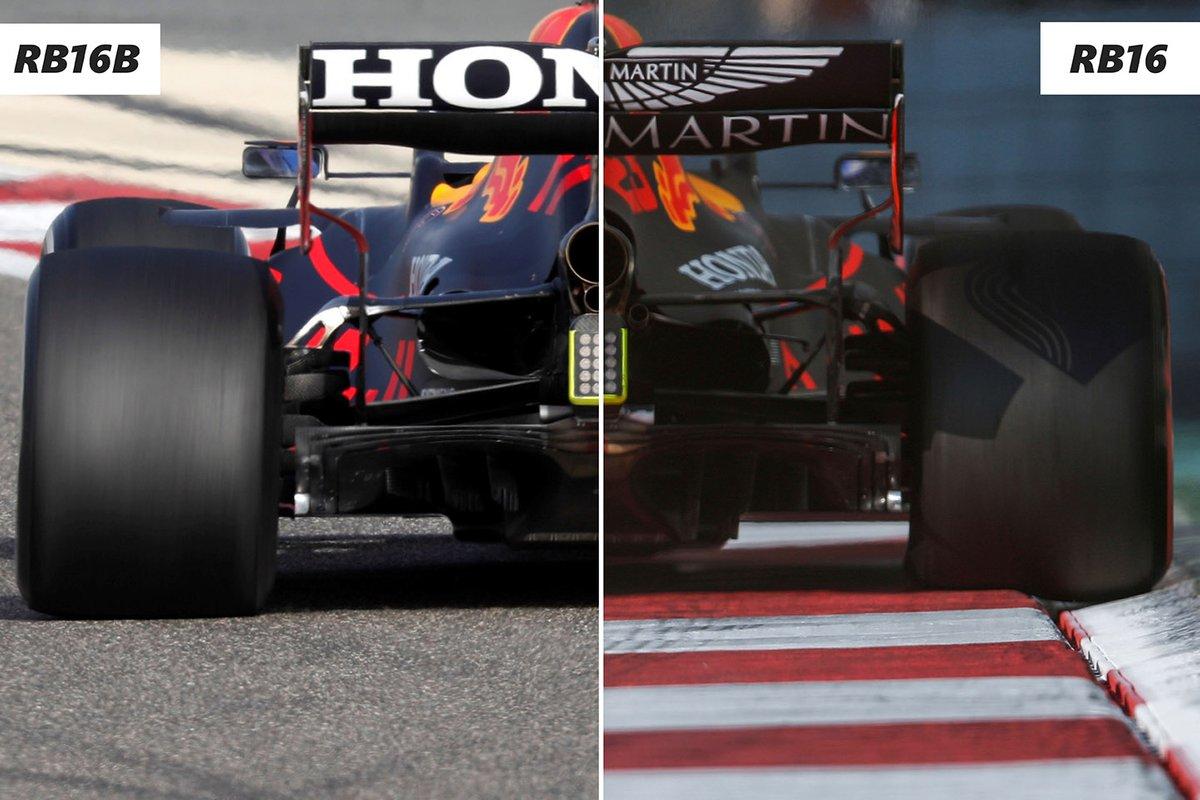 Red Bull RB16B Vs RB16 rear detail