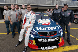 Craig Lowndes, Triple Eight Race Engineering Holden celebrates his 600th Supercars race with his  team