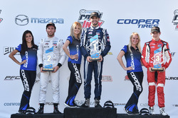 Podium: winner Kyle Kaiser, Juncos Racing, second place Ed Jones, Carlin, third place Zach Veach, Belardi Auto Racing