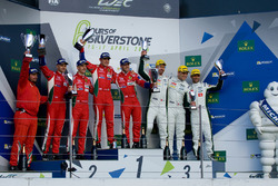 LMGTE Pro podium: winners, Davide Rigon, Sam Bird, AF Corse, Gianmaria Bruni, James Calado, second place, Marco Sorensen, Darren Turner, Nicki Thiim, third place