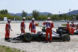 Lewis Hamilton, Mercedes AMG F1 W07 Hybrid and Nico Rosberg, Mercedes AMG F1 W07 Hybrid in the gravel after colliding