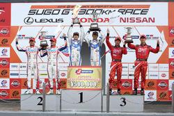 Podium GT500: winners #24 Kondo Racing Nissan GT-R Nismo GT3: Daiki Sasaki, Masataka Yanagida, second place #39 Lexus Team Sard Lexus RC F: Kohei Hirate, Heikki Kovalainen, third place #38 Team Zent Cerumo Lexus RC F: Yuji Tachikawa, Hiroaki Ishiura