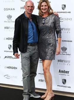 Adrian Newey, Red Bull Racing Chief Technical Officer with Louise Goodman, at the Amber Lounge Fashion Show