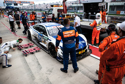 The car of Maxime Martin, BMW Team RBM, BMW M4 DTM after the crash