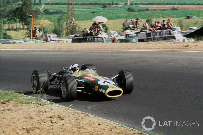 Jim Clark, Lotus 49 Ford DFV at Kyalami on New Year's Day 1968. Final Grand Prix for the great man, completed in time-honored style with pole, fastest lap and victory.