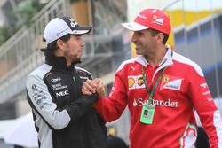 (L to R): Sergio Perez, Sahara Force India F1 with Marc Gene, Ferrari Test Driver