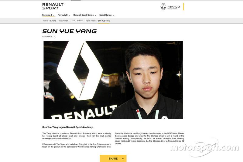 Sun Yueyang, Renault Academy