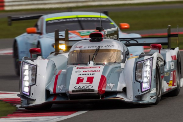 Four Audi R18 e-tron quattro cars at test day for the Le Mans 24 Hours