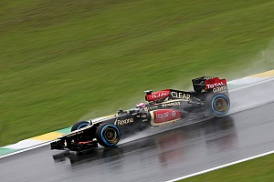 Formula 1 Practice report Lotus' Kovalainen ended a wet first day of practice for the Brazilian GP with the 4th fastest time