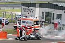 Hamilton's car catches fire in Q1 - video
