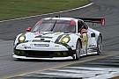 No. 912 Porsche 911 RSR pulls even with No. 4 Corvette C7.R  after opening  at Petit Le Mans
