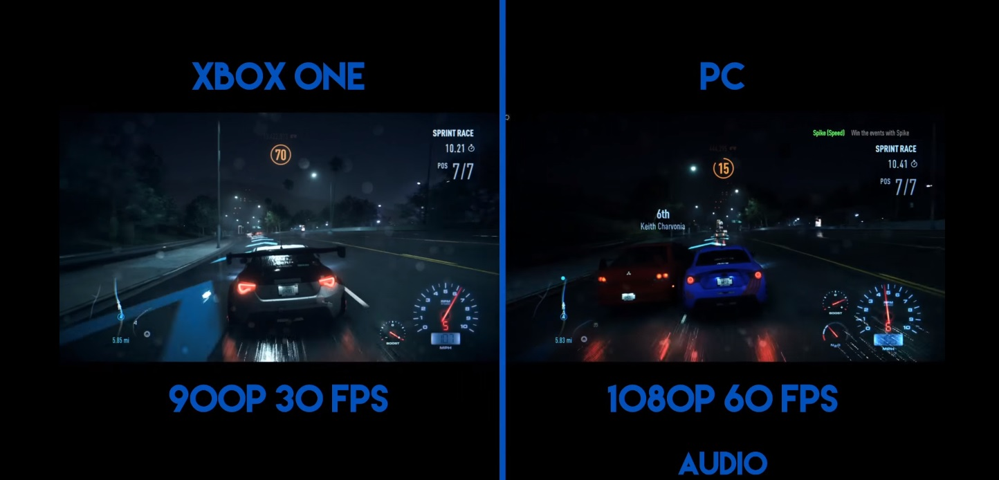 Need For Speed 2015 - PC vs XBOX ONE (30FPS vs 60FPS)