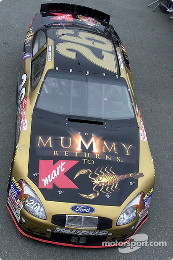 Jimmy Spencer's Ford Taurus carried The Mummy Returns colors at Fontana