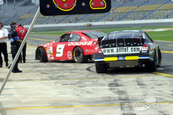 Bill Elliott and Ryan Newman in pitlane