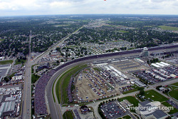Aerial view of Indianapolis Motor Speeway: turn 1