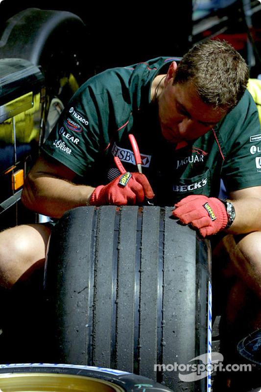 Working on tires at Jaguar