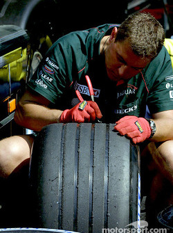 Working on tires at Jaguar