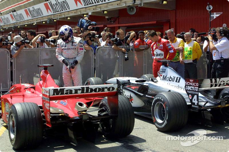 Nice Ferrari, Mr. Schumacher', 'Nice McLaren, Mr. Coulthard'