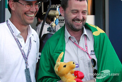 Aussie power: Australian Olympic Committee Craig McLatchey, the Boxing Kangaroo and Paul Stoddart