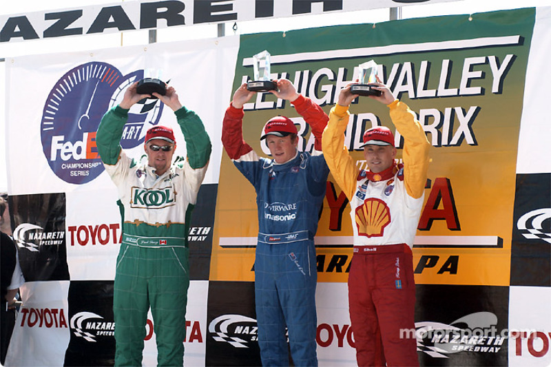 The podium: Paul Tracy, Scott Dixon and Kenny Brack
