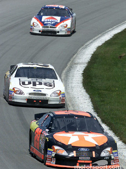 Race winner Ricky Rudd leads team mate Dale Jarrett and Jeff Burton at Pocono