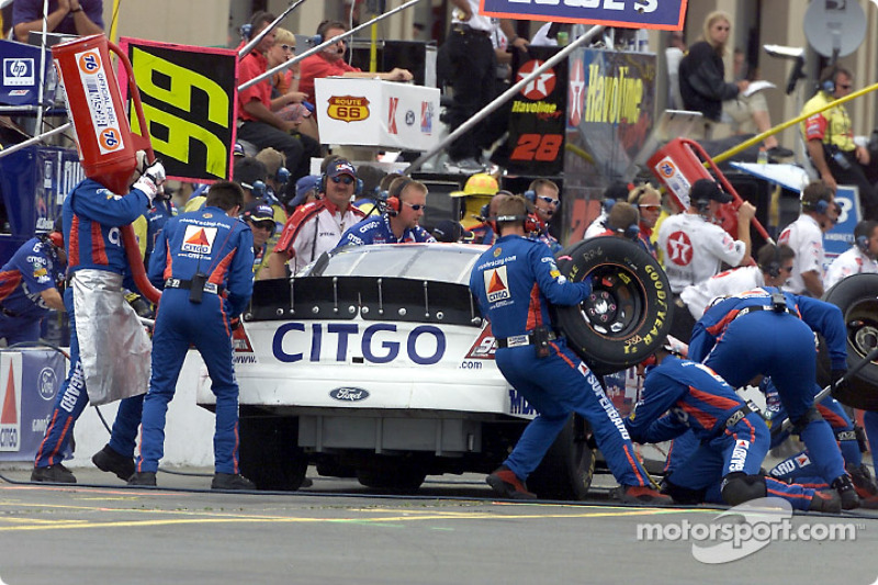 Jeff Burton pits for gas and tires