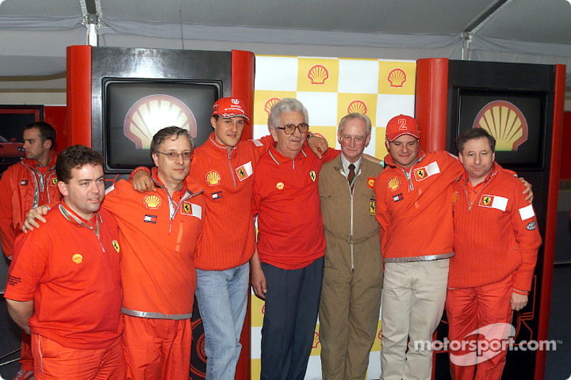 Past and present: Ian Galliard, Paolo Martinelli, Michael Schumacher, Ener Vecchi, Alastair Wadsworth, Rubens Barrichello and Jean Todt